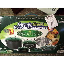 10 PC CERAMIC GREEN NON STICK COOKWARE