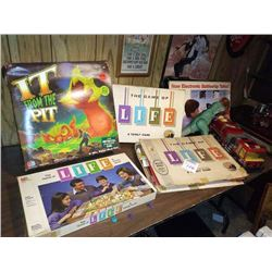 VINTAGE GAME OF LIFE X3, ELECTRONIC BATTLESHIP, IT FROM THE PIT, T-REX, FIRE ENGINE