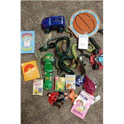 LOT OF VINTAGE CARD GAMES, COLLECTIBLE TOYS, RUBBER SNAKES