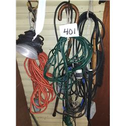 WORK LIGHT AND EXTENSIONS CORDS, WOODEN CANE