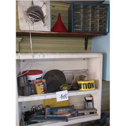 VARIOUS TOOLS, NUTS AND BOLTS, SPOOLS OF WIRE, CAUTION TAPE, MORE