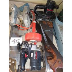 LOT OF POWER TOOLS, HAND SAWS