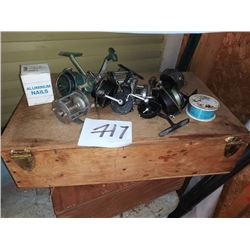 LOT OF FISHING REELS, SPOOL OF LINE