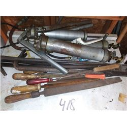 LOT OF GREASE GUNS, FILES, CROW BARS