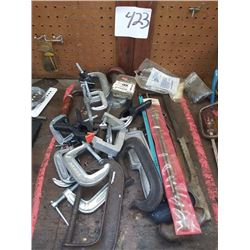 ASSORTED C CLAMPS AND MISC TOOLS LOT