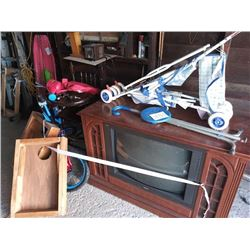 KID'S BICYCLE, WOODEN HIGH CHAIR, STROLLER, FOLDING SEAT CANE, RCA CABINET TV