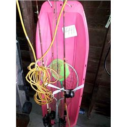 KID'S TOBOGGAN, FISHING RODS AND REELS, NETS