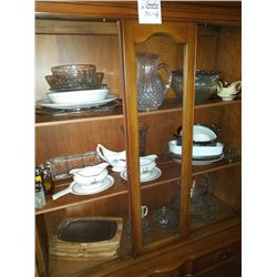 BRASS CANDLES AND CABINET CONTENTS LOT