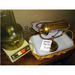 GE FOOD PROCESSOR, DESK LAMP AND DISHWARE LOT