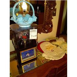 FANCY ELECTRIC CLOCK, GLASS BASKET, CERAMIC SANTA, WELCOME SIGN
