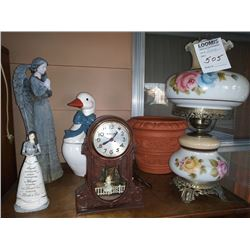 FLORAL PAINTED LAMP, CLOCK, ANGEL FIGURINES