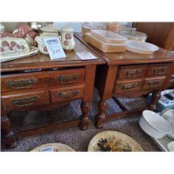 BUNDLE LOT: PAIR OF END TABLES, 6 PC KITCHEN SET, CERAMIC PLAQUES