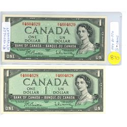 BC-37B ? TWO 1954 BANK OF CANADA ONE DOLLAR CONSECUTIVE NOTES