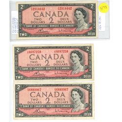 SEVEN 1954 TWO DOLLAR NOTES