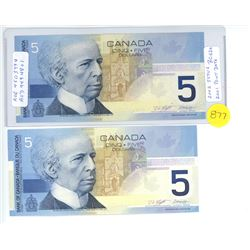 BC-62A -TWO 2002 FIVE DOLLAR NOTES PRINTED IN 2001