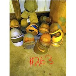 LOT OF BLASTING HELMETS WITH AIR TUBES