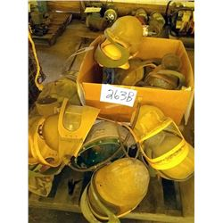 LOT OF BLASTING HELMETS WITH AIR TUBE