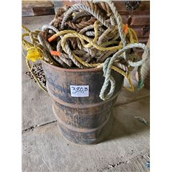55 GALLON DRUM OF VARIOUS SIZED ROPE