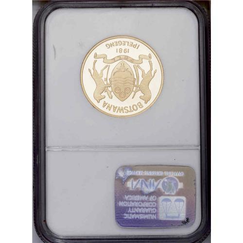 Botswana  Republic gold Piefort 150 Pula 1981, KM-P2, Proof 69 NG Republic  gold Piefort 150 Pula 198