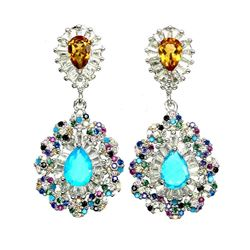 Natural Ethopian Blue Opal & Citrine Earrings