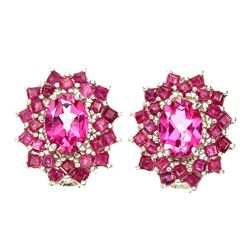 Natural Rich Pink Topaz &  Red Ruby Earrings