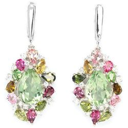 Natural Green Amethyst & Fancy Color Tourmaline Earring