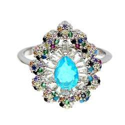 Natural Ethopian  Blue Fire Opal  Ring