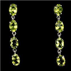 Natural Oval 7x5mm Top Rich Green Peridot Earrings