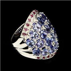 Natural Untreated  Blue Tanzanite & Ruby Ring