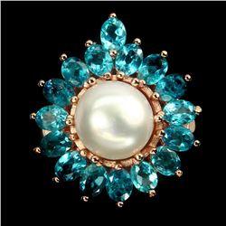 Natural Pearl & Paraiba Blue Apatite Ring