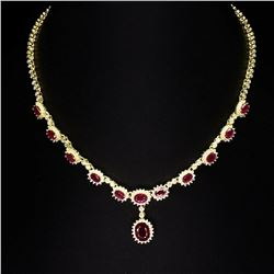 Genuine 10x8mm  Red Ruby 160 Cts Necklace