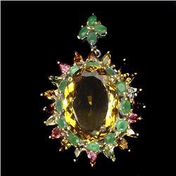 Natural Citrine Emerald Tourmaline Pendant/Brooch