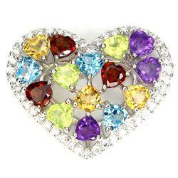Natural Multi Gem Hearts Pendant