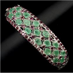 Natural Green Emerald & Rhodolite Garnet Bangle