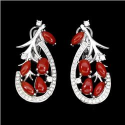 Natural Oval Italian Coral Earrings
