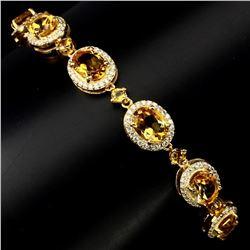 Natural 8x6mm Top Rich Yellow Citrine Bracelet