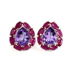 Natural Brazil Amethyst 10x8 MM Red Ruby Earrings