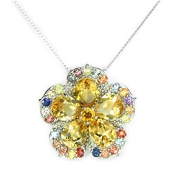 Natural YELLOW CITRINE & SAPPHIRE FLOWER PENDANT
