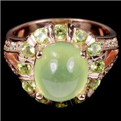 NATURAL AAA GREEN PREHNITE & PERIDOT Ring