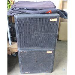 Qty 2 JBL SRX700 Series Professional Loudspeakers on Wheels w/ Case