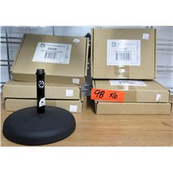 "Qty 6 Atlas Sound LP DS5E Ebony Desktop Microphone Stand w/ 6"" Base"