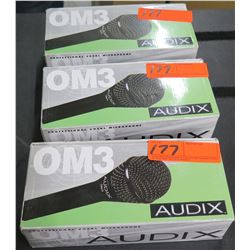 Qty 3 Audix OM3 Dynamic Vocal Microphone
