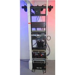 Furman Co Rack w/ Antari Fog Machine, Powered Speaker Selector, PLX1802 Amp, etc
