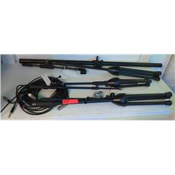 Qty 3 Microphone Stands w/Cables