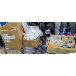 Multiple Misc Mounting Hardware Clamps, Vises, Cotter Pins, Half Couplers, Washers etc
