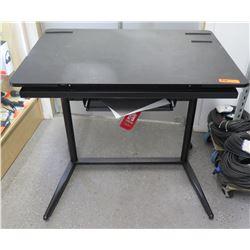 Wood with Pedestal Metal Legs Computer Desk w/ Keyboard Shelf