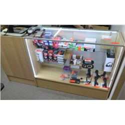 Wood & Glass Display Case with Sliding Back Doors and 3 Shelves