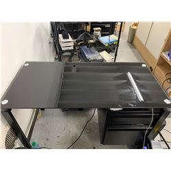 Black Desk with Glass Top
