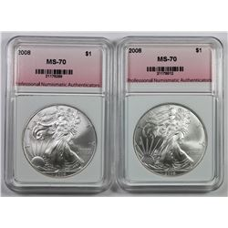 TWO 2008 AMERICAN SILVER EAGLES