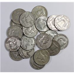 20 PCS. SILVER FRANKLIN HALF DOLLARS